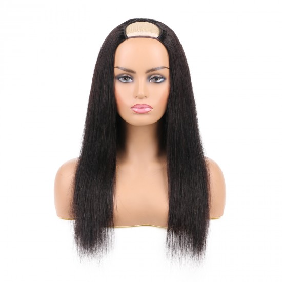 U Part Wigs Human Hair Wigs for Black Women Brazilian Straight Human Hair Wigs None lace front wigs Glueless Natural Color U-part wigs Hair Extension Clip