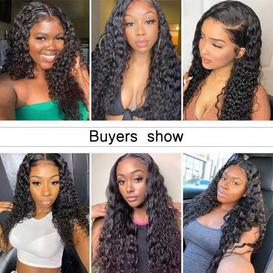 U Part Wigs Human Hair Wigs for Black Women Water Wave Human Hair Wigs None lace front wigs Glueless Natural Color U-part wigs Clip in Hair Extension