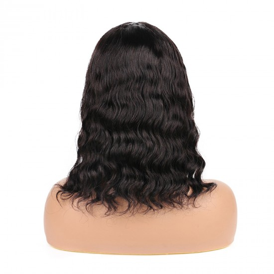 Bob Wigs with Bangs Body Wave Human Hair Wavy Bob Wigs None Lace Front 130% Density Guless Machine Made Wigs Natural Color For Women