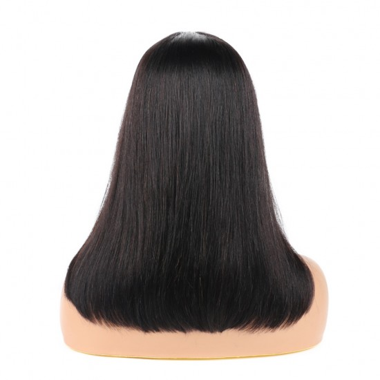 Bob Wigs with Bangs Brazilian Virgin Straight Human Hair Wig 130% Density None Lace Front Wigs Glueless Machine Made Wigs for Women Natural Color