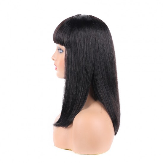 Silky Brazilian Virgin Straight Human Hair Wigs with Bangs 130% Density None Lace Front Wigs Glueless Machine Made Wigs for Women Natural Color