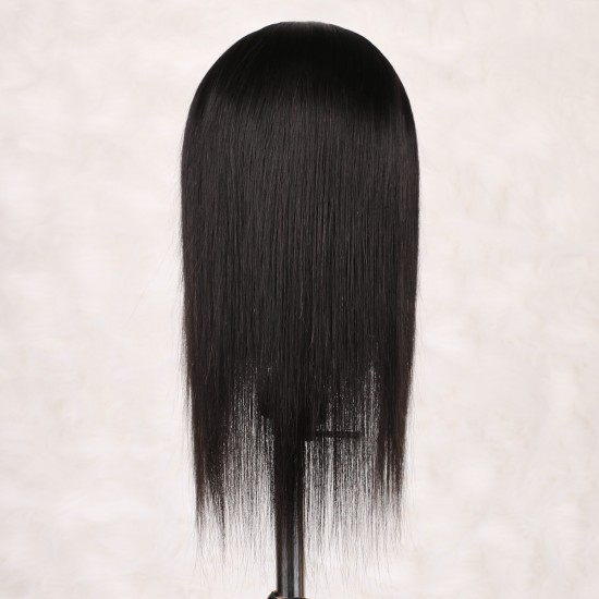 Headband Wigs for Black Women Human Hair 150% Density None Lace Front Wigs Straight 9A Brizilian Remy Human Hair Glueless Wigs Straight Hair Machine Made Headband Half Wig 16 inch