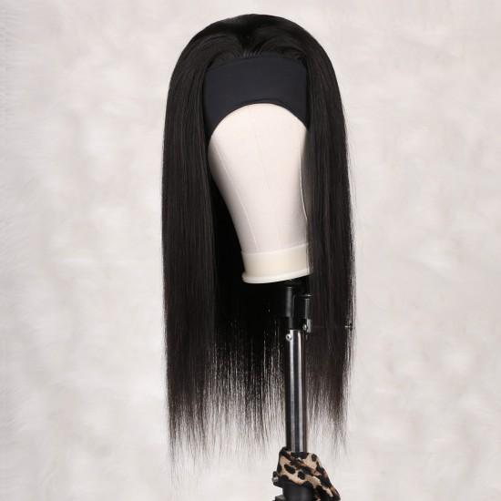 Headband Wig Human Hair None Lace Front Wigs Straight 9A Human Hair Glueless Headband Wigs for Black Women Brizilian Remy Hair Machine Made Headband Wigs 150% Density  18 inch