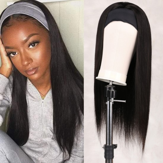 Straight Human Hair Wigs wig with headband attached 20 Inch Glueless None Lace Front Wigs Brizilian Remy Hair Machine Made Headband Wig for Black Women 150% Density