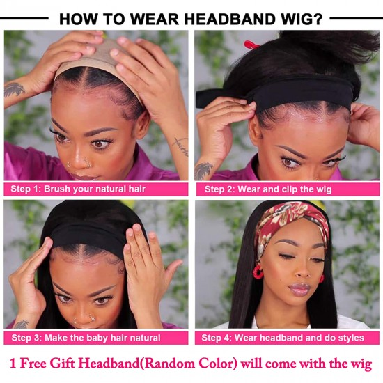 Straight Headband Human Hair Wig 22 inch Glueless None Lace Front Wig Brizilian Remy Hair Machine Made Half Wig Wear and Go Wig for Black Women 150% Density