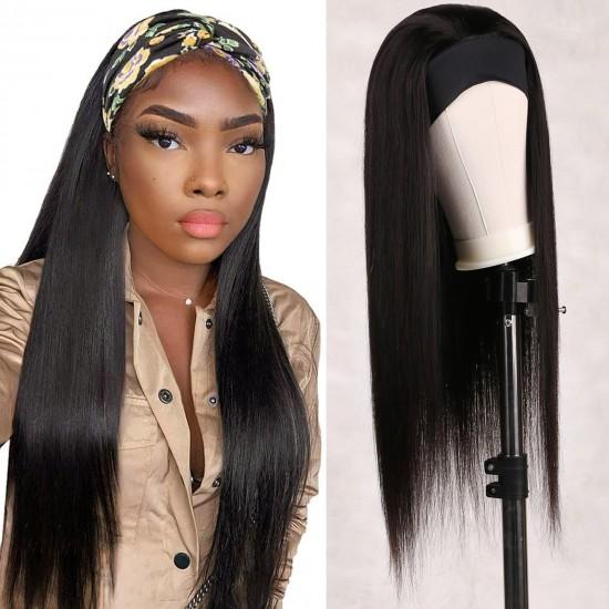 Straight Human Hair Headband Wigs for Black Women 24 inch Glueless None Lace Front Wigs Human Hair 9A Brizilian Remy Hair Machine Made Headband Wig Human Hair Half Wigs