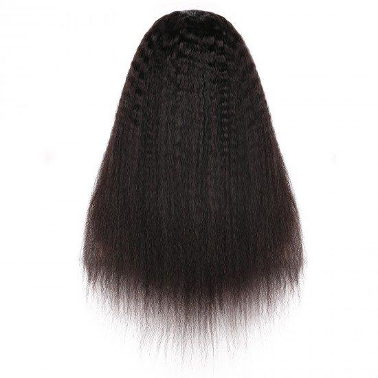 20 Inch U Part Wigs for Black Women Human Hair Kinky Straight Wig, Half Wig 2x4 U Shape Clip in Glueless Human Hair Wigs Yaki Straight Natural Black