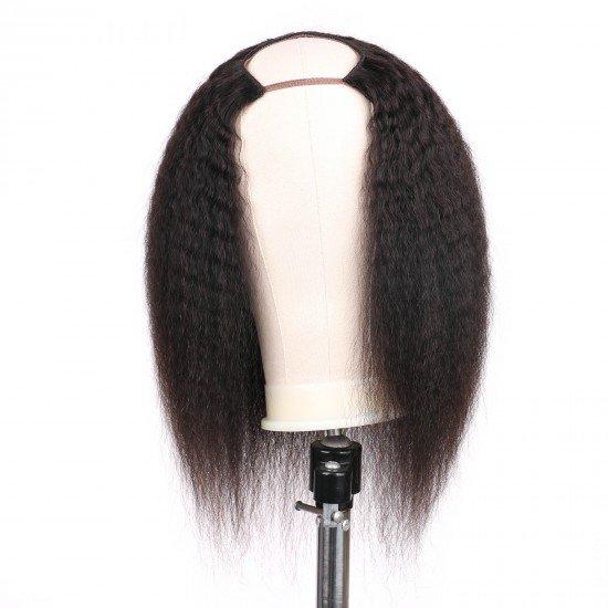 U Part Wig Human Hair Wigs for Black Women 2x4 U Shape Kinky Straight Wave Wig 14 inch Half Wig Glueless Full Head Wig Natural Black Can be Dyed