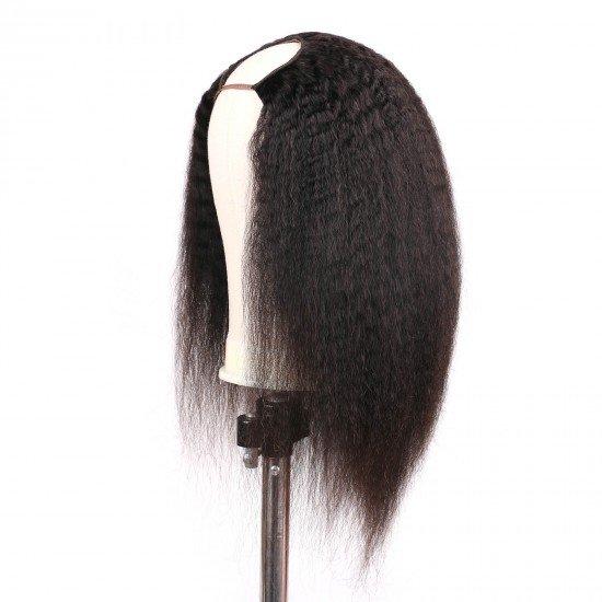 Kinky Straight U Part Wigs - 2x4 U Shape Clip in Yaki Straight Half Wig Italian Yaki Brazilian Virgin Human Hair Wigs for Black Women Natural Black 16 inch