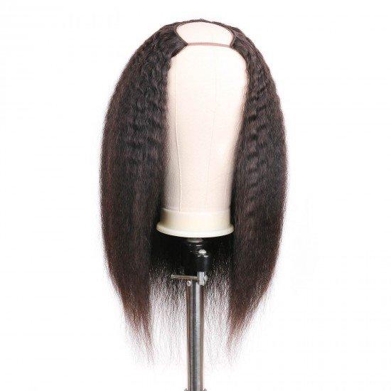 U Part Wig Kinky Straight -2x4 Centre Part Human Hair Wig 150% Density 10A Grade Brazilian Hair Glueless Half Wig Natural Color (18 inch Yaki Straight)