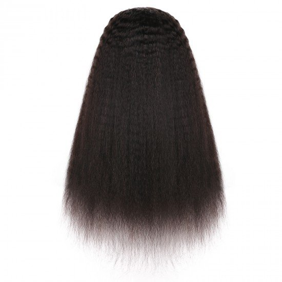 U Part Wig Kinky Straight Human Hair Wigs for Black Women 22 inch Half Wig 2x4 inch U Shape Clip in Wigs Yaki Straight Wig Brazilian Hair Wig 150% Density Natural Black Color