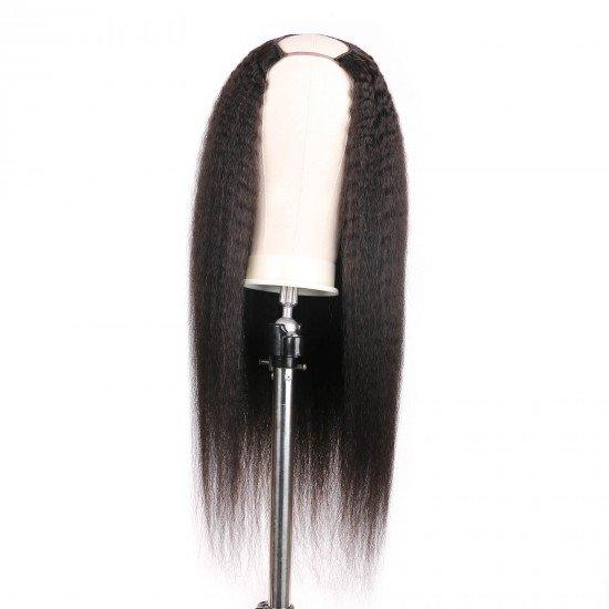 U Part Kinky Straight Wig Human Hair,Yaki Straight 24 inch U Shape Human Hair Wig for Black Women Brazilian Remy Hair Clip in Glueless Half Wig 150% Density Natural Color