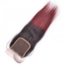 3 Bundles Brazilian Hair Weave Bundles With Closure Ombre Human Hair Bundles With Closure NonRemy Straight Hair-1b/99j