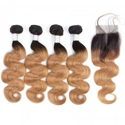 Ombre Color Brazilian Body Wave Human Hair Bundles with Lace Closure Non Remy Hair Weave 4 Bundles with Closure