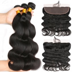 Malaysian Hair Human Hair 3 Bundles With Lace Frontal Nature Color Non Remy - Body Wave