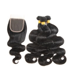 Peruvian Hair Human Hair 3 Bundles With Closure 4x4 Lace Closure Nature Color Non-Remy Bundle Pack - Body Wave