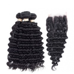 Peruvian Hair Human Hair 3 Bundles With Closure 4x4 Lace Closure Nature Color Non-Remy Bundle Pack - Deep Wave