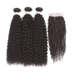 Peruvian Hair Human Hair 3 Bundles With Closure 4x4 Lace Closure Nature Color Non-Remy Bundle Pack - Kinky Curl