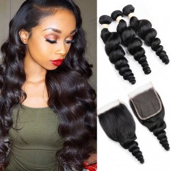 Peruvian Hair Human Hair 3 Bundles With Closure 4x4 Lace Closure Nature Color Non-Remy Bundle Pack - Loose Wave