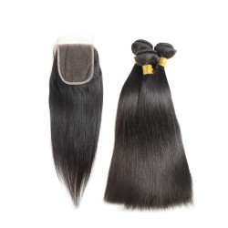 Peruvian Hair Human Hair 3 Bundles With Closure 4x4 Lace Closure Nature Color Non-Remy Bundle Pack - silky straight