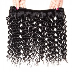 4 Bundles Virgin Hair Deep Wave 100% Human Hair Extensions Double Weft No Shedding