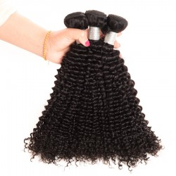 4 Bundles Virgin Hair Kinky curly 100% Human Hair Extensions Double Weft No Shedding