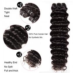 Brazilian Virgin Hair Deep Wave 100% Human Hair 3 Bundles With Frontal Natural Color 14''-22''