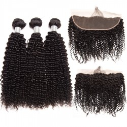 Brazilian Virgin Hair Kinky Curl 100% Human Hair 3 Bundles With Frontal Natural Color