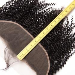Brazilian Virgin Hair Kinky Curl 100% Human Hair 3 Bundles With Frontal Natural Color