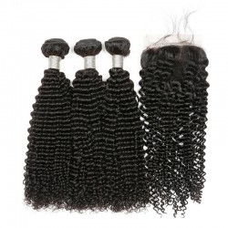 Brazilian Virgin Hair 3 Bundles With Lace Closure - Kinky Curl 14''-18''