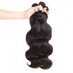 Brazilian Virgin Hair Body Wave 3 Bundles Natural Color 100% Human Hair Extensions 12-28 Inch Unprocessed Hair Weave