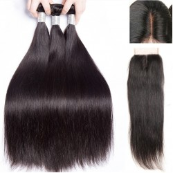 Brazilian Virgin Hair 3 Bundles With Lace Closure - Silky Straight