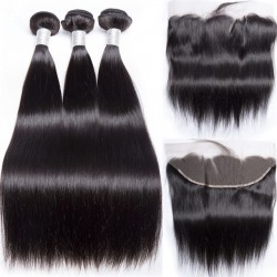 Brazilian Virgin Hair 3 Bundles With Lace Frontal- Silky Straight