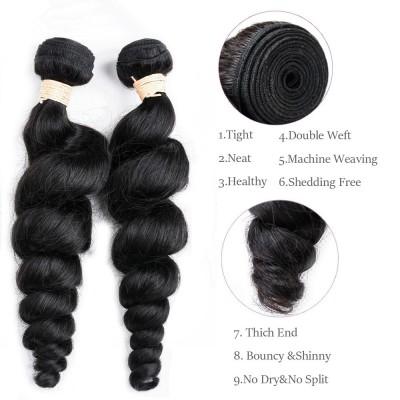 Malaysian Hair Extension 100% Human Hair Bundles 3PCS Natural Color - Loose Wave