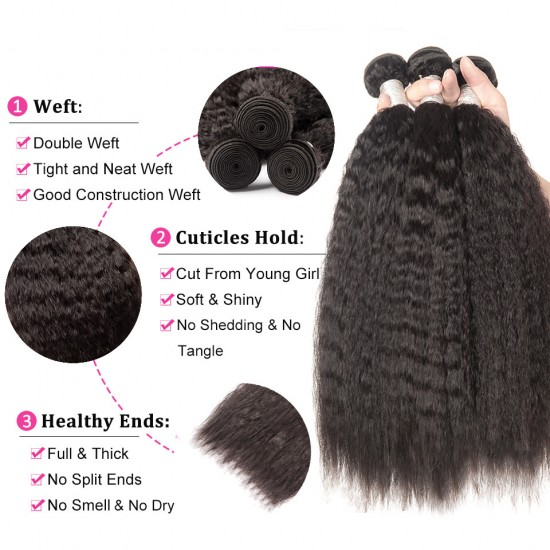 Kinky Straight Hair Bundles With Frontal Brazilian Hair Weave Bundles Human Hair Bundles With Frontal Remy Hair Extension