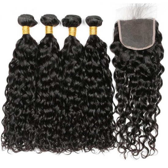 Peruvian Water Wave Bundles With Closure 3 Bundles Human Hair Weave With Lace Closure 100g/bundle