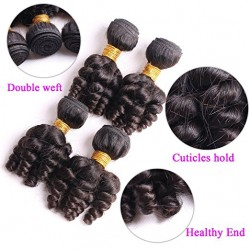 "Funmi Hair 4 Bundles Natural Black Unprocessed Human Hair Short Curly Weave Brazilian Virgin Hair 200g/lot (12"" 12"" 12"" 12"")"