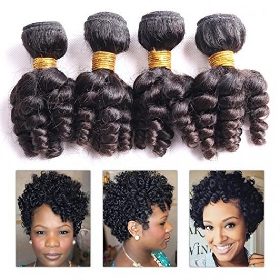 "Funmi Hair 4 Bundles Natural Black Unprocessed Human Hair Short Curly Weave Brazilian Virgin Hair 200g/lot (12"" 12"" 12"" 12"")"