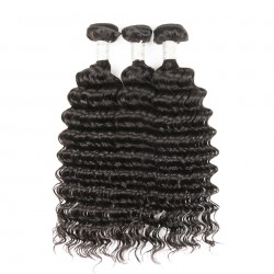 Brazilian Virgin Hair 3 Bundles With Lace Frontal - Deep Wave