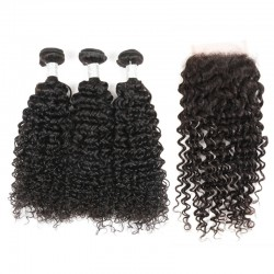 Brazilian Virgin Hair 3 Bundles With Lace Closure - Jerry Curl