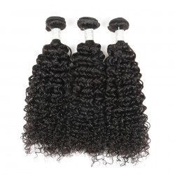 Brazilian Virgin Hair Kinky Curl 3 Bundles Deal Natural Color 100% Human Hair Extensions 12-28 Inch Unprocessed Hair Weave