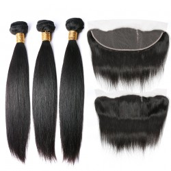 Malaysian Hair Human Hair 3 Bundles With Lace Frontal Nature Color Non Remy - Straight