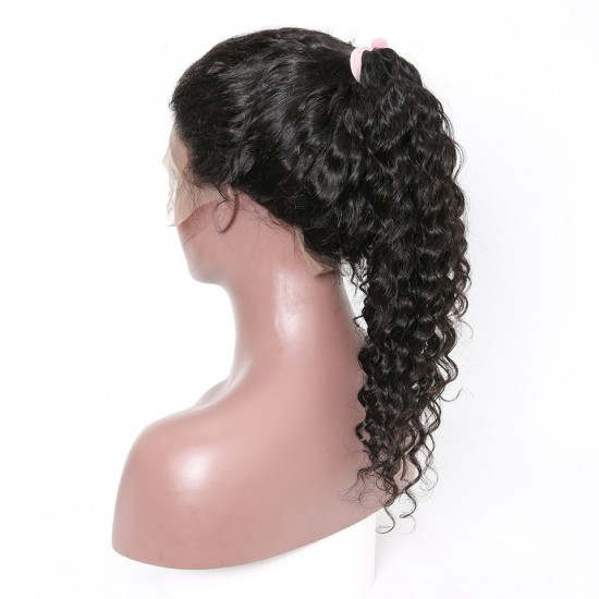 10A Deep Wave Full Lace Human Hair Wigs  With Baby Hair