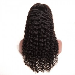 10A Lace Front Wig,Human Hair Wigs With Baby Hair Nature Black- Deep Wave
