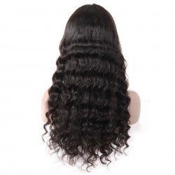 10A Lace Front Wig,Human Hair Wigs With Baby Hair Nature Black - Loose Wave