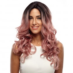 Synthetic Lace Front Wig High Temperature Fiber Loose Wave Synthetic Hair Wigs Mixed Color Cosplay Wig